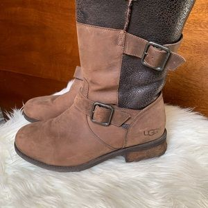 Ugg Leather/Wool Combat Winter Boots
